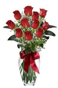 11 adet kirmizi gül vazo mika vazo içinde  Giresun çiçek , çiçekçi , çiçekçilik