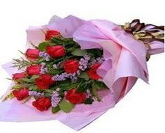 11 adet kirmizi güllerden görsel buket  Giresun uluslararası çiçek gönderme