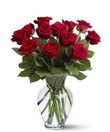 Giresun uluslararası çiçek gönderme  cam yada mika vazoda 10 kirmizi gül