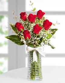 Cam vazoda 7 adet kırmızı gül  Giresun çiçek servisi , çiçekçi adresleri