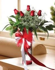 Camda 5 kırmızı gül tanzimi  Giresun hediye sevgilime hediye çiçek