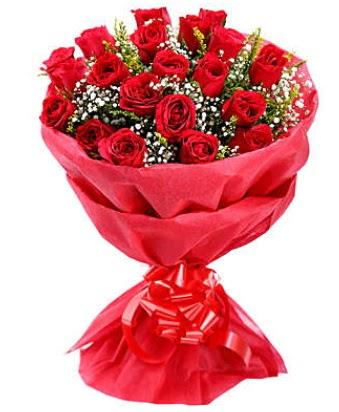 21 adet kırmızı gülden modern buket  Giresun anneler günü çiçek yolla