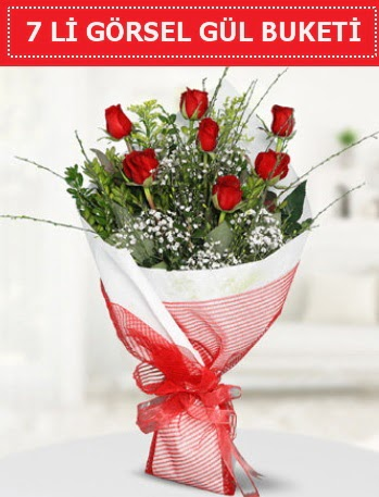 7 adet kırmızı gül buketi Aşk budur  Giresun çiçek online çiçek siparişi