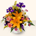 Giresun çiçek , çiçekçi , çiçekçilik  sepet içinde karisik çiçekler