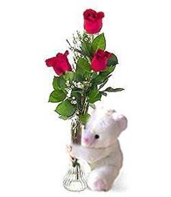 oyuncak ve 3 adet gül  Giresun yurtiçi ve yurtdışı çiçek siparişi