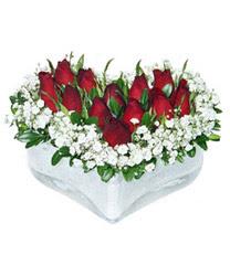 Giresun İnternetten çiçek siparişi  mika kalp içerisinde 9 adet kirmizi gül