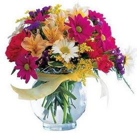 Giresun online çiçekçi , çiçek siparişi  cam yada mika içerisinde karisik mevsim çiçekleri