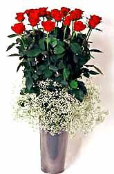 Giresun çiçek gönderme  9 adet kirmizi gül cam yada mika vazoda