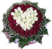 Giresun internetten çiçek satışı  27 adet kirmizi ve beyaz gül sepet içinde