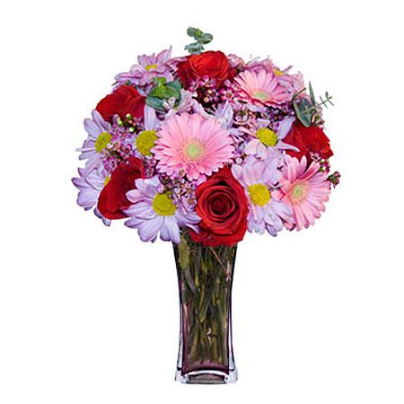 Görsel hediye karisik cam mevsim demeti  Giresun güvenli kaliteli hızlı çiçek