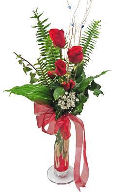 Çiçek gönderin cam vazoda 3 gül çiçekleri  Giresun yurtiçi ve yurtdışı çiçek siparişi