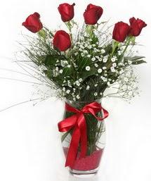 7 adet gülden cam içerisinde güller  Giresun çiçek , çiçekçi , çiçekçilik