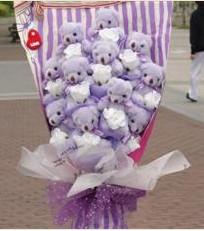 11 adet pelus ayicik buketi  Giresun uluslararası çiçek gönderme