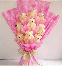 9 adet pelus ayicik buketi  Giresun ucuz çiçek gönder