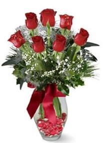 Giresun İnternetten çiçek siparişi  7 adet kirmizi gül cam vazo yada mika vazoda