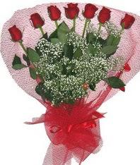 7 adet kipkirmizi gülden görsel buket  Giresun internetten çiçek satışı