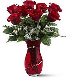 Vazo içinde 8 adet kirmizilar içinde güller  Giresun İnternetten çiçek siparişi