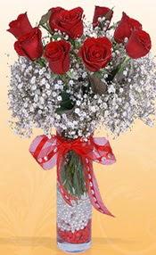9 adet kirmizi gül cam yada mika vazoda  Giresun internetten çiçek satışı