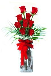 Giresun hediye sevgilime hediye çiçek  9 adet mika yada cam vazoda gül tanzimi