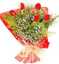 Giresun ucuz çiçek gönder  5 adet kirmizi gül buketi demeti