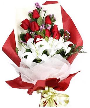 Giresun çiçek yolla , çiçek gönder , çiçekçi   1 dal kazablankaa 9 adet kırmızı gül buketi