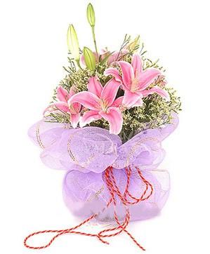 3 dal kazablanka görsel buketi  Giresun online çiçekçi , çiçek siparişi