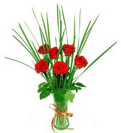 Giresun çiçek servisi , çiçekçi adresleri  6 adet kırmızı güllerden vazo çiçeği