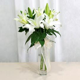 Giresun ucuz çiçek gönder  2 dal kazablanka ile yapılmış vazo çiçeği