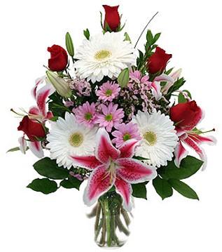Giresun internetten çiçek satışı  1 dal kazablanka 5 gül ve kırçiçeği vazosu