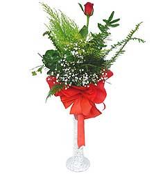 Giresun ucuz çiçek gönder  Cam vazoda masum tek gül