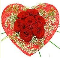 Mika kalp içerisinde 7 adet kırmızı gül  Giresun güvenli kaliteli hızlı çiçek