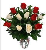 Vazo içerisinde 6 kırmızı 6 beyaz gül  Giresun kaliteli taze ve ucuz çiçekler