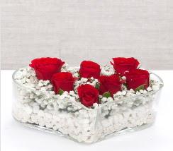 kalp içerisinde 7 adet kırmızı gül  Giresun çiçek gönderme sitemiz güvenlidir