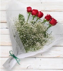 5 kırmızı gülden sade buket  Giresun 14 şubat sevgililer günü çiçek