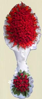 Çift katlı kıpkırmızı düğün açılış çiçeği  Giresun ucuz çiçek gönder