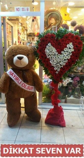 1.5 Metre peluş ayı ve Kalp  Giresun uluslararası çiçek gönderme