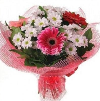 Gerbera ve kır çiçekleri buketi  Giresun İnternetten çiçek siparişi