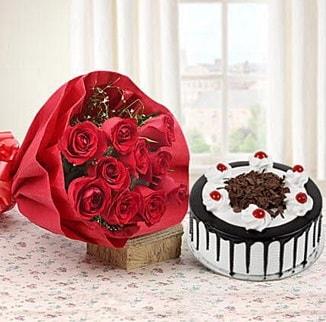 12 adet kırmızı gül 4 kişilik yaş pasta  Giresun çiçek servisi , çiçekçi adresleri