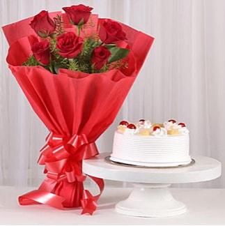 6 Kırmızı gül ve 4 kişilik yaş pasta  Giresun çiçek servisi , çiçekçi adresleri