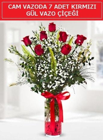 Cam vazoda 7 adet kırmızı gül çiçeği  Giresun uluslararası çiçek gönderme