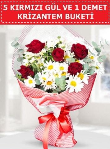 5 adet kırmızı gül ve krizantem buketi  Giresun çiçek online çiçek siparişi