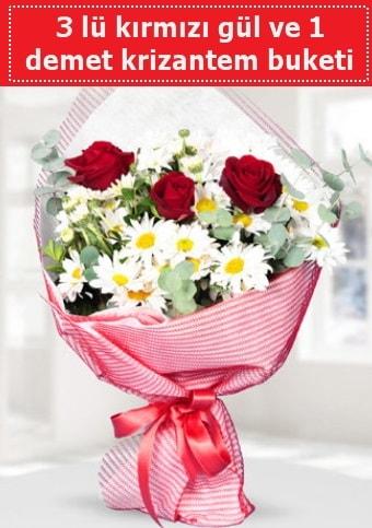 3 adet kırmızı gül ve krizantem buketi  Giresun uluslararası çiçek gönderme