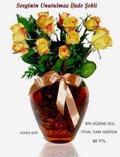 Giresun online çiçekçi , çiçek siparişi  mika yada Cam vazoda 12 adet sari gül